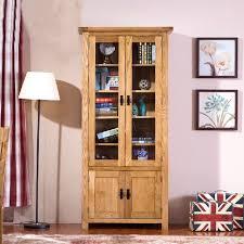 oak bookcases with glass doors oak wood with doors free combination bookcase glass door showcase