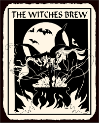 vintage halloween illustration witches brew halloween vintage metal art retro tin sign all