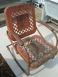 Patio Rocking Chairs Metal Vintage 1940s 1950s Metal Lawn Chair Antique Metal Patio Rocking