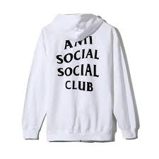 100 genuine assc anti social social supply machoism zip up white