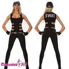 Swat Halloween Costumes Women Ladies Woman Black Swat Police Uniform Party Fancy Dress