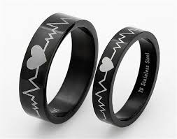 black steel rings images Free engraving titanium steel rings sets love token couple wedding jpg