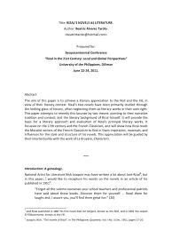 research paper about jose rizal rizal u0027s novels as literature beatriz alvarez tardio