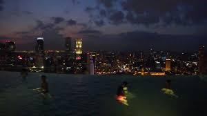 marina bay sands skypark infinity pool at night hd youtube