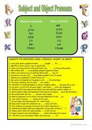 58 free esl object pronouns worksheets