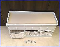 white storage bench wicker drawers hallway bedroom two seater wood