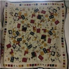 The World U0027 by Chanel Scarf Authentic Chanel Scarf 100 Silk 35in 90cm