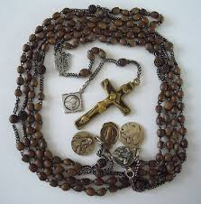 15 decade rosary antique 15 decade wooden early 1900s habit rosary with