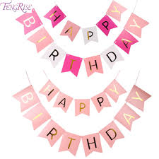 Pretty Bunting Flags Fengrise Glitter Happy Birthday Bunting Banner Gold Letters