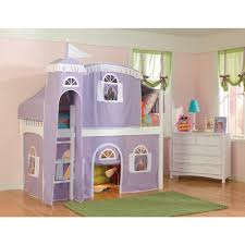 Bunk Bed With Tent At The Bottom White Low Loft With Lilac And White Tower Top Tent