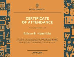 attendance certificate template attendance certificate 2