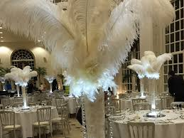 white ostrich feather centerpieces event decor so lets party