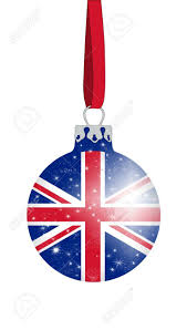 England Flag Colors Christmas Ball In The Colors Of The British Flag With Glittering