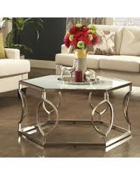 frosted glass coffee table amazing deal davlin contemporary glam hexagonal metal frosted glass