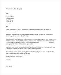 sample of resignation letter for employee 13 employee resignation