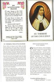 Prayer To St Therese The Little Flower - saint therese of the child jesus prayer card