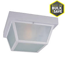 shop portfolio 10 37 in w white outdoor flush mount light at lowes com