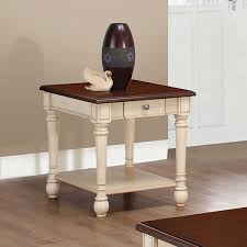 coaster antique white 1 drawer square end table with dark cherry
