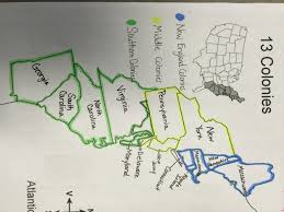 Thirteen Colonies Map 13 Colonies Colored Regions Jpg