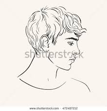 drawn hair profile pencil and in color drawn hair profile