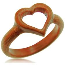 heart ring heart ring carved wood ring