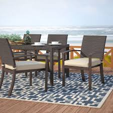 Patio Dining Chairs With Cushions Beachcrest Home Levey Stacking Patio Dining Chair With Cushion