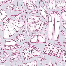 fashion illustration seamless pattern set summer party doodles