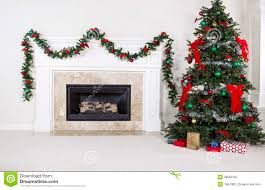 gas insert fireplace in use during holidays stock photography