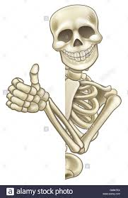 a skeleton halloween cartoon character giving a thumbs up and