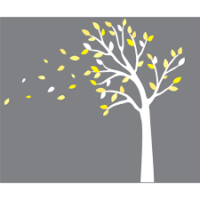 yellow and gray blowing tree decal for nursery for boys yellow and gray blowing leaf wall decals for boys bedrooms