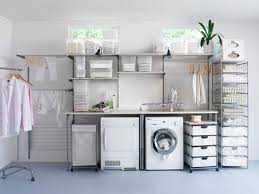 utility room layout ideas with white washer machine and ceramic