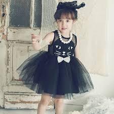 cute black cat pattern summer mesh princess dress children
