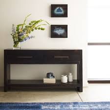 Wall Tables Suki Burnished Black Reclaimed Pine Wood Console Table With