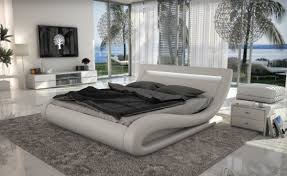 Modern White Bed Frames Corsica Contemporary White Leatherette Bed With Headboard Lights