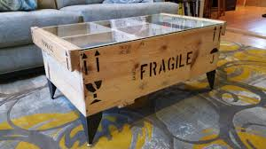 crate coffee tables emily u0027s museum crate table with custom metal legs