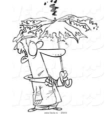 vector of a cartoon man under a struck umbrella coloring page