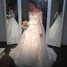 white long sleeve bridal dresses lace wedding gowns princess