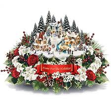 thomas kinkade lighted pictures amazon com thomas kinkade floral centerpiece with lighted village