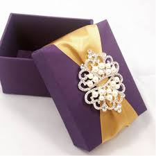 Wedding Favors Box by Silk Wedding Favour Box With Pearl Crown Brooch Embellishment
