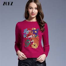 warm womens sweaters zofz embroidered deer sweater winter warm pullovers