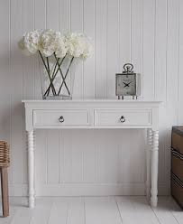 white table with drawers new england white console table with two drawers and antique brass