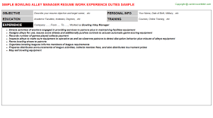 Sample Controller Resume by Bowling Alley Manager Resume Sample