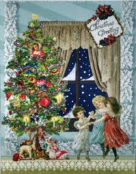 victorian christmas tree card