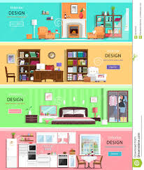 set of colorful vector interior design house rooms with furniture