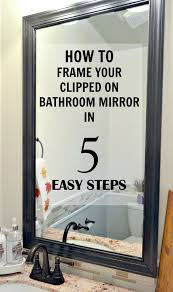 Framing Bathroom Mirror by Framing Mirror Using Crown Molding And Spray Paint So Much