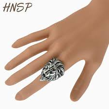 fashion male rings images Hnsp trendy gold silver color lion head animal rings for men jpg