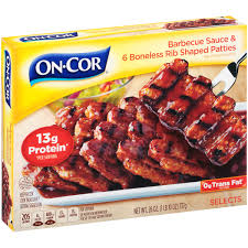 on cor barbecue sauce u0026 boneless rib shaped patties 26 oz box