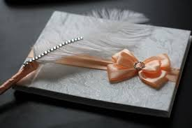 wedding wishes book wedding guest book with ostrich feather pen sign in