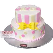 1960 2 tier pink u0026 yellow baby shower cake abc cake shop u0026 bakery