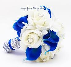 wedding flowers blue and white royal blue white bridal bouquet roses calla lilies pearl rhinestones